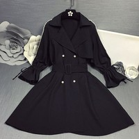 """Dior"" Women Temperament Fashion Loose Long Sleeve Pagoda Sleeve Pearl Cardigan Medium Long Section Windbreaker Coat"