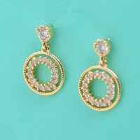 Women's Rhodium Plated Alloy Earrings with White CZ Micropave Setting-Double Rings W1502 0804J