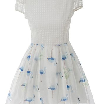 Casual Lovely Doll Collar Embroidery Printed Skater Dress