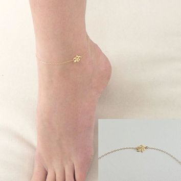 Shiny Jewelry Gift Cute Ladies Stylish Sexy New Arrival Accessory Leaf Simple Anklet [11156946836]