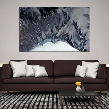 59686 - Glacier Abstract Wall Art | Marble Canvas Print | Abstract Watercolor Art | Ice Abstract Wall Art | Oil Style Painting | Ready to Hang