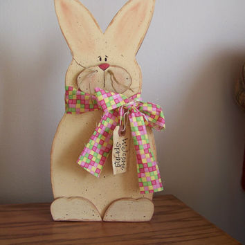 Welcome Spring Wooden Primitive Bunny Wall Hanging/Shelf Sitter