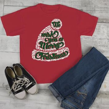 Kids Wish You Merry Christmas Winter Hat T-Shirt Xmas Shirts Hipster Graphic Tee Toddler Boy's Girl's