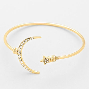 Delicate Crescent Moon & Star Cuff Bangle Bracelet - Gold