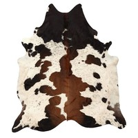 Black and Brown Spotted Cowhide Rug