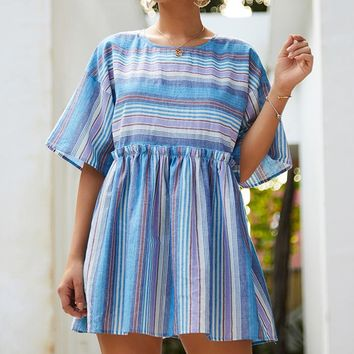 Summer Hot Sale Women Loose Sweet Stripe Short Sleeve Round Collar Dress Blue