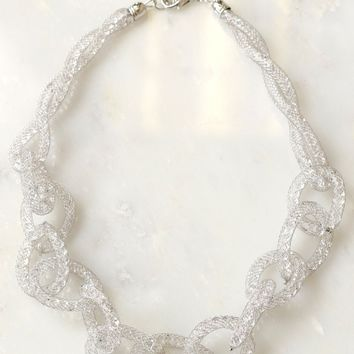 Woven Chain Necklace Silver