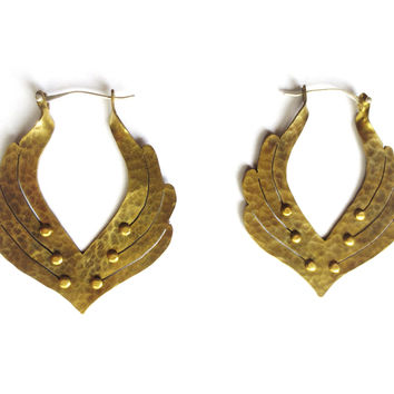 Isis Wings Brass Earrings
