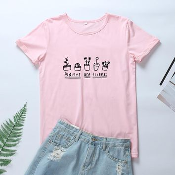 OLN 2018 Harajuku Summer Women Tshirt Plants Are Friends Graphic Tee Shirt Femme Kawaii Cotton Tops Funny T Shirts Women