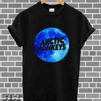 Band Shirt - Arctic Monkeys Shirt Tour 2014 Blue Moon Logo Printed Shirt Black and White Color Unisex T Shirt - AR03