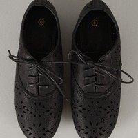 Missy-1 Perforated Lace Up Oxford Flat