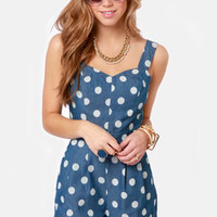 Dot of the Bay Blue Polka Dot Romper