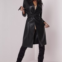 Missguided - Peace + Love Faux Leather Trench Coat Black