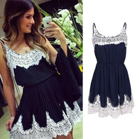 Summer Sexy Women Casual Spaghetti Strap White Lace Patchwork Dark Navy Chiffon Evening Party Cocktail Short Mini Dress = 1946193860