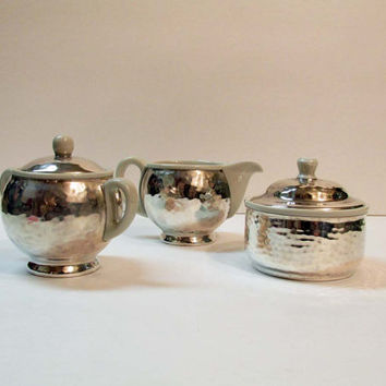 WMF - Hammered Silver Porcelain Bauhaus Art Deco Cream & Sugar and RARE Tea Caddy Trinket box Wilhelm Wagenfeld