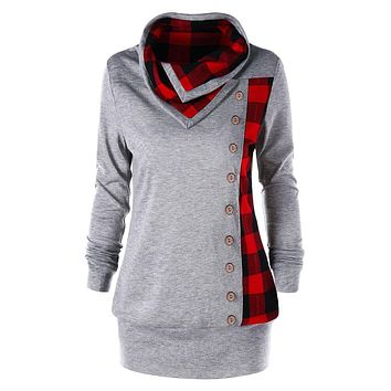 ZAFUL Sweatshirts Women Plus Size Plaid Cowl Neck Long Sleeve Sweatshirts Casual Button Long Hoodies Tops New Fashion Pullovers