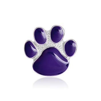 Trendy Purple Paw Brooch Metal Enamel Dog Claw Pin Button Backpack Denim jacket Collar Lapel Icon Badge Jewelry for Dog owner AT_94_13