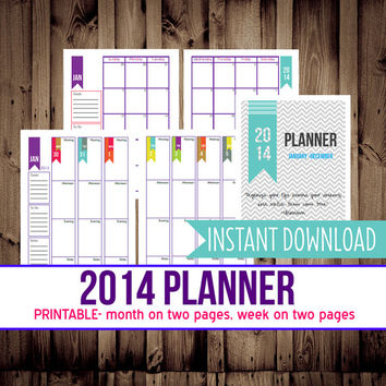 2014 Weekly & Monthly Planner-Printable Planner-12 months-Monthly Calendar-Weekly Planner-INSTANT DOWNLOAD