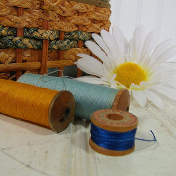 Vintage Wooden Spools with Silk Threads Collection - Retro Sewing Necessities Set of 3 Pieces - Antique Mending Supplies for Use or Display