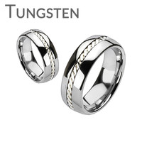 Silver Rope - Get Best Of Both Worlds Tungsten Carbide Ring with Sterling Silver Rope Along The Center
