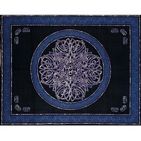 Handmade Cotton Celtic Circle Wheel Of Life Tapestry Spread Full Purple Black