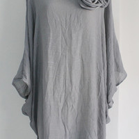 Gray Plus Size 3X 4X Lightweight Top Poncho Ladies Tunic Floral Blouse Dolman Sleeves