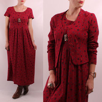 Vintage 90s Burgundy Red Floral  - Pleated Waist - Long Maxi Babydoll Dress & Button Up Cardigan Set