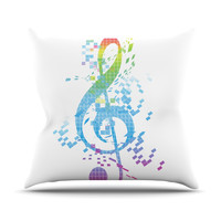 "Frederic Levy-Hadida ""Rainbow Key"" Multicolor Music Outdoor Throw Pillow"