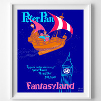 Disneyland Vintage, Disney Poster, Disneyland Print, Peter Pan, Snow White, Mr.Toad, Disney, Fantasyland, Kid Room, Halloween Decor