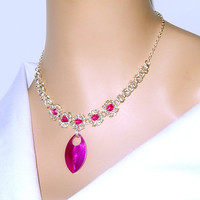 Hot pink necklace, byzantine romanov pink necklace with aluminum scales, great for weddings, proms, casual wear, formal wear, moms, women
