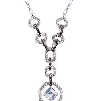 Judith Jack Sterling Silver and Clear Crystal Geometric Pendant Necklace