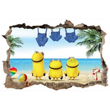 Minions seaside swimming 3d broken wall art vinyl stickers kids bedroom nursery school home living room decoration anime posters