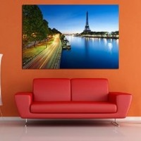 canik182 Box Framed Canvas Print Artwork Stretched Gallery Wrapped Wall Art Painting Hanging Original Decorative Modern Home & Living Decor Paris Eiffel Tower River Size 26x40""
