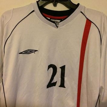Sale!! Vintage Umbro England Home 2001/2003 Soccer Jersey Long sleeve football shirt F