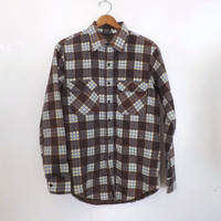 Vintage 80s 90s Mens Shop JCPenny Brown Plaid Thick Flannel Cotton Hipster Winter Fall Lumberjack Hunting Button Up Shirt Coat Punk Grunge
