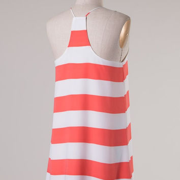Striped Racer Back Dress - Coral