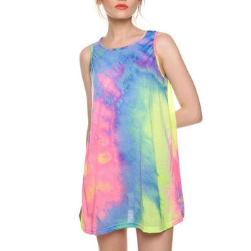 S-6XL Women's Summer Sleeveless Tie Dye  O-neck Casual Mini Nightclub T-shirt Dress Plus Size Sundress