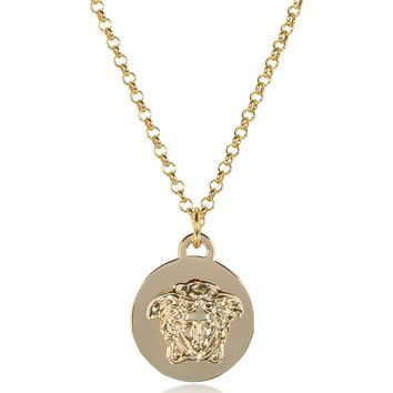 Versace Light Gold Metal Medusa Pendant Necklace
