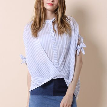 Casual Twist Smock Top in Blue Stripes