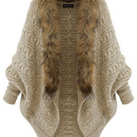 Women's Winter Coat Knitwear Long Sleeve Loose Faux Fur Cardigan Winter Coat Jacket