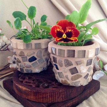 Handmade mosaic flower pot, indoor planter, mini pot set, herb pot, succulent planter, mini mosaic, kitchen planter, plant set, flower pot
