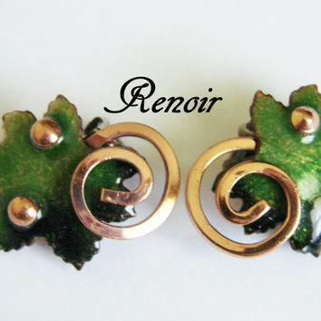 Vintage Renoir Designer Signed Enamel Copper Modernist Earrings / Green Enamel / Jewelry / Jewellery