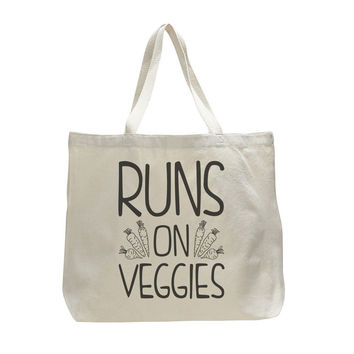 Runs On Veggies - Trendy Natural Canvas Bag - Funny and Unique - Tote Bag