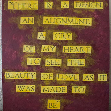 "Mumford & Sons quote painting - 11"" x 12"" - The beauty of love"