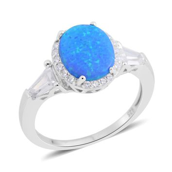 Opal, Simulated Diamond Sterling Silver Ring