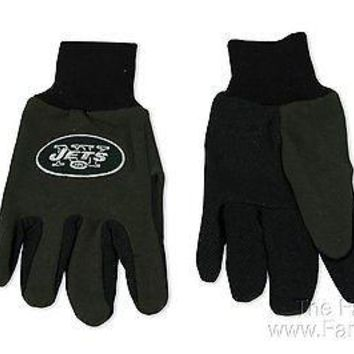 New York Jets NY 2-Tone Pair GRIP Gloves Sport Work Utility Football