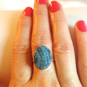 Waves of Grace Oval Teal Druzy Agate Cabachon Sterling Silver Ring