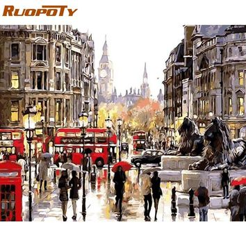 RUOPOTY Frame London Street DIY Oil Painting By Number Landscape Handpainted Oil Painting Modern Wall Art Picture For Home Decor