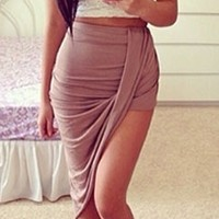 Wrap Me Skirt - Taupe