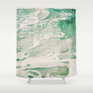 Shower Curtain, Hemlock Mint Green & Sea Foam Ocean Waves Hanging Tub Curtain, Beach Surf Boho Hippie Chic Nautical Bathroom Vanity Decor